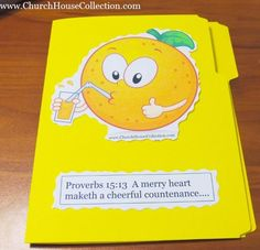 Orange Summer Folder Lapbook Idea for Kids in Sunday School or Children's Church. Proverbs 15:13