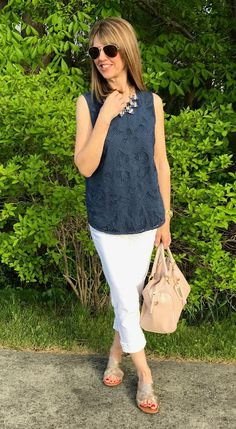 from The Midlife Fashionista pairs her J.Jill layered schiffli tank with her J. Classic Outfits, Casual Outfits, Fashion Outfits, Fasion, Fall Winter Outfits, Spring Outfits, Stitch Fix Outfits, Fashion Advice, Fashion Ideas