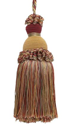 "Decorative 5"" Key Tassel, Wine, Gold, Green Imperial II Collection Style# IKTJ Color: CHERRY GROVE - 4770"