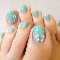 Aqua and glitter toenails