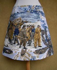 Reddingsbrigade borduurwerk rok, A-lijn rok, gerecycelde katoen, gevoerd, geborduurde rok, schipbreuk, blauw oker bruin grijs, maat Medium