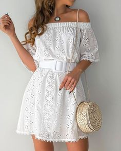 Off Shoulder Hollow Out Trim Casual Dress - Cute Dresses, Casual Dresses, Casual Outfits, Short Sleeve Dresses, Mode Outfits, Dress Outfits, Fashion Dresses, Vestido Casual, Summer Outfits