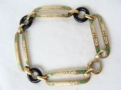 Antique Art Deco 14K Gold Enamel Onyx Disc Link Bracelet
