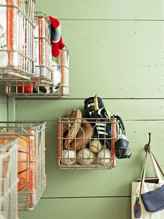 Heavy-duty metal milk crates become handy catchalls for almost anything when mounted to the wall: http://www.bhg.com/decorating/storage/projects/from-flea-market-finds-to-savvy-storage/?socsrc=bhgpin041714milkcrates&page=2