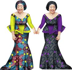African Women Two Piece O Neck Print Skirt Set African Clothing Plus