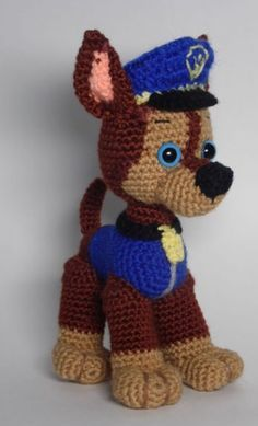 Paw Patrol Chase crochet pattern English PDF by AmbercraftstorePaw Patrol Marshal Chase Skye Rubble Zuma Everest andToy will be about tall if you use yarn weight (worsted) and hook mm. To make bigger toy crochet with double yarn and hook Paw Patrol f Chat Crochet, Crochet Dolls, Crochet Yarn, Free Crochet, Crochet For Kids, Crochet Animal Patterns, Stuffed Animal Patterns, Amigurumi Patterns, Crochet Animals
