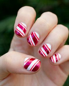 2013 Christmas candy cane nails, Cute Christmas candy cane nails design in 2013, Pink short nail art in 2013 www.loveitsomuch.com