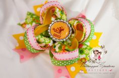 Pooh Bear Inspired Hair Bow - Winnie - Birthday Bow - Boutique Stacked Bow. $10.95, via Etsy.