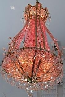 A puddle draped arbor with this beauty hanging inside, dimly lit, with a beautiful beach sunset. Candle Chandelier, Antique Chandelier, Chandelier Lighting, Pink Chandelier, Crystal Chandeliers, Pretty Lights, Beautiful Lights, Beautiful Beach, Cool Lighting