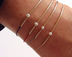 Tiny Tubes & Pearl on Silk - Gemstone Friendship Bracelet - Healing Crystal Intention: ' Purity'