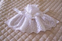 Handmade XS-S Dog Dress White Sheer Embroidered Lace Bow Pets