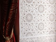 Hand carved plaster work at the entrance of our Ahmar Suite at Riad Al-Bushra