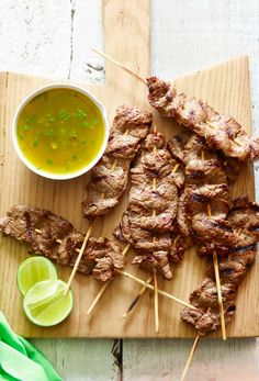 Flank Steak Skewers with Cilantro Dipping Sauce from www.whatsgabycooking.com make for the perfect appetizer or main course! (@whatsgabycookin)