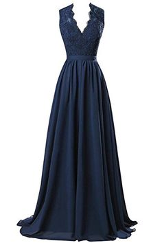 Nina Vneck Long Chiffon open Back Bridal Prom Evening Dress Navy 4 * Continue to the product at the image link.