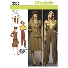 Jump back to the stylish 1940s with these sportswear items for Misses and Plus Size: blouse, skirt, pants and lined jacket. Simplicity sewing pattern.