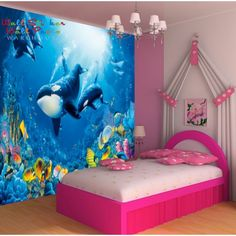 Colorful bedroom wall murals  - Under the sea - Orcas. <3