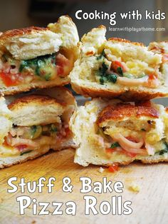 Stuff and Bake Pizza Rolls. Cooking with Kids