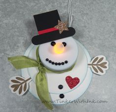 stampin up tea light snowman - We could do one of these for each place.  They would be very quick to do.  Put a magnet on the back and it's a gift too.