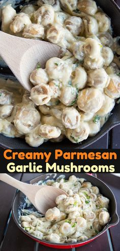 Rich and Creamy Parmesan Garlic Sauteed Mushrooms ! Also known as fried mushroom crack, these sauteed mushrooms are covered in a rich, decadent Parmesan garlic cream sauce! #mushrooms #mushroom #friedmushrooms #recipe #cooking #skillet #appetizer #sidedish #