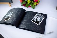 guest 'book':   Make a scrapbook of photos for guests to sign around. This book with black and white photos, black pages and metallic pens is lovely