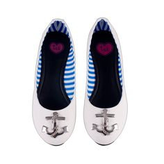 White Anchor Femme Flat Shoes