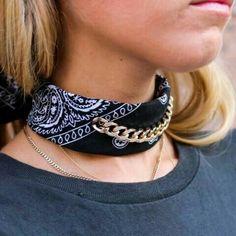 Black by a Chain Bandana Choker Bandana Choker, Bandana Crafts, Denim Crafts, Scarf Jewelry, Fabric Jewelry, Jewlery, Bandana Styles, Long Skirts For Women, Bracelets