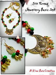 A basic Silk Thread jewellery set in black, green, red and golden colour combo Embellished with a beautiful chandbali metal pendant Matching earrings Adjustable length Quality finish  Whatsapp 8638536812 to order  Affordable price Payment via online transfer or Paytm COD not available Free shipping above Rs 500 Delivery all over India  #Kinubolaexclusive #silkthreadjewellery