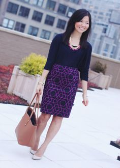 J.Crew Factory Purple Navy Geometric Pencil Skirt - Wear it with navy sweater or top and nude pumps
