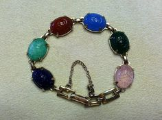 Vintage Egyptian Revival Carved Glass Scarab by SweetBettysBling, $17.00
