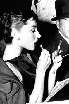 "Audrey Hepburn on the set of ""Sabrina"" in 1953."