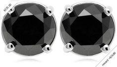 14k White Gold Black Diamond Stud Earrings (2 cttw)
