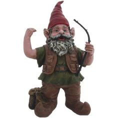 Nowaday Gnomes Fisherman the Gnome Garden Gnome Fisherman Holding a Fishing Pole and Line Figurine Statue, 14 inchH, Multicolor