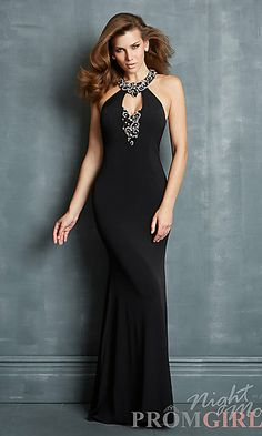 Floor Length High Neck Night Moves Dress at PromGirl.com