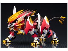 The Hayate Liger evolved from the Murasame Liger, and is adapted for higher-speed combat, reaching a maximum speed of 420 kilometers per hour! Zoids Genesis, Anime Figures, Action Figures, Robot Animal, Robot Concept Art, Custom Gundam, Mecha Anime, Gundam Model, Ship Art
