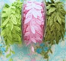 I'm thinking that this ribbon with some glittered butterflys would look awfully pretty. So many ideas to use it for: crib mobile, on dowel to hang as curtain for easter, on a wreath.....