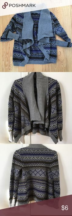 Forever 21 Tribal Print Cardigan Blue, black and grey tribal print cozy cardigan Forever 21 Sweaters Cardigans
