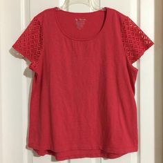292c456ccb Chico s Coral High Low Lace Sleeve Top