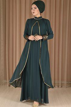 b8600ee2da36f modamerve - Varak Güpürlü Şifon Abiye Elbise Zümrüt RZG 16061