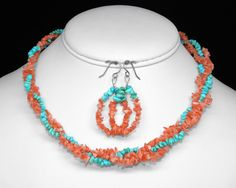 Mediterranean Angel Face Coral and Turquoise Necklace and