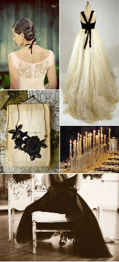 Black and white Halloween wedding style board. Very worth checking out. LOVE the lace back on the dress.
