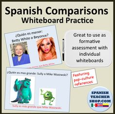 Practice using comparative words like más que, menos que, and tan...como in this lesson designed with pop culture references your students will love!