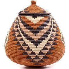 African Basket - Zulu Ilala Palm - Ukhamba - 15 Inches Tall - #53367