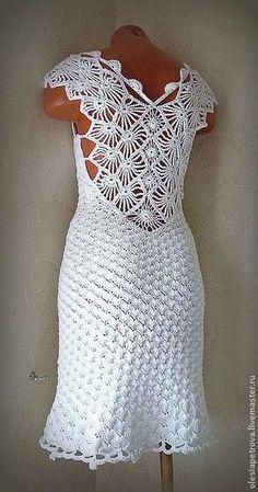 Linhas e Lãs - Vstido em crochê ideal para casamentos na praia ou segundo vestido da noiva