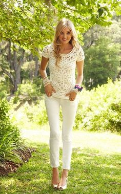 Spring 14 CAbi lace tank and CAbi white trousers