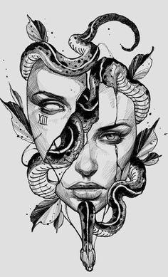 Scary Art, Sketches, Medusa Drawing, Mythology Tattoos, Mandala Design Art, Skeleton Drawings, Ink Gallery, Tattoo Design Drawings, Dark Art Drawings