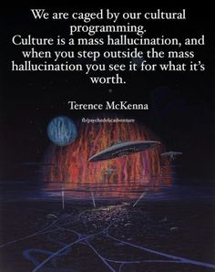 We are caged by our cultural programming. Culture is a mass hallucination, and when you step outside the mass hallucination, you see it for what it's worth. Unplug from the Matrix ...