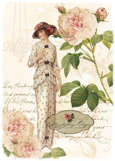 Signora in rosa digitale Scarica stampabile di MoonlightingByMary, $5.00