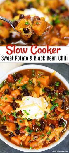 crock pot meals Crock Pot Sweet Potato Black Bean Chili is the perfect meal to serve on Meatless Monday or any day of the week. This chili is hearty and delicious. Sweet Potato Black Bean Chili Recipe, Turkey Sweet Potato Chili, Chili Recipe With Black Beans, Turkey Chili, Tofu Chili Recipe Crock Pot, Soup With Sweet Potato, Sweet Potato Soup Healthy, Sweet Potato Chili Vegetarian, Vegetarian Chili Crock Pot