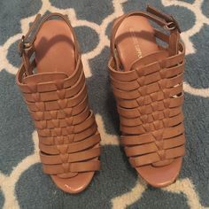 Tan woven wedges, perfect for a summer night out! Worn twice, however tripped in the and haven't been brave enough since! There is a small knick on the toe from where I tripped, other than that, no wear and tear! Pictured above. Received compliments and felt super cute, just a little too high for me! There pretty things need a good new home! Mossimo Supply Co Shoes Wedges