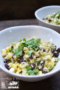 Corn & Black Bean Quinoa Salad - A great side dish at a picnic or barbecue, or as a main dish for four people. This salad also travels well and would be a good packed lunch.